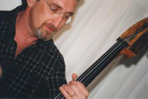 E with his bass jamming at home.
