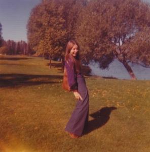 B at Boulevard Lake posing in bellbottoms.