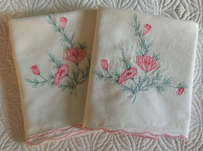 Cherished pillow cases embroidered by my mother.