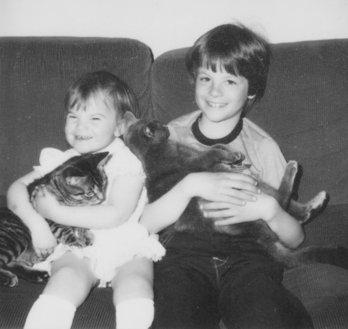 tom + aimee with cats
